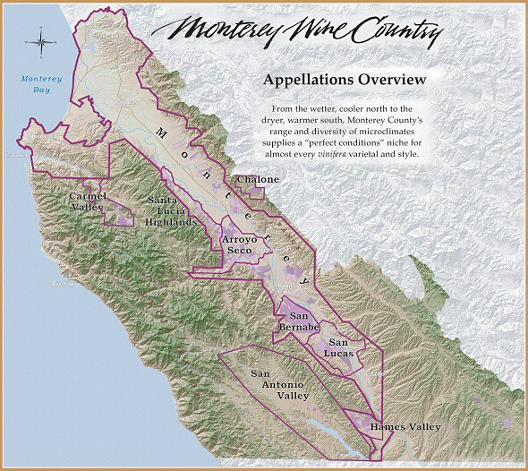 Monterey Wine Country AVA Map